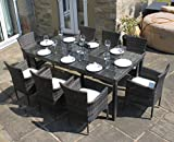 Littleborough Furniture Company Rattan Outdoor 8 Seater Garden Furniture Dining Set in Mixed Brown