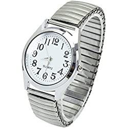 36mm Big Numbers Stretchable Stainless Steel Men Women Sport Casual Wrist Watch