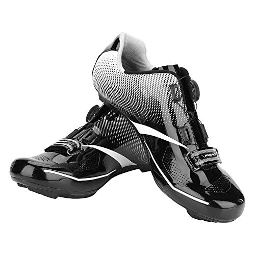 Alomejor Scarpe da Bici, 1 Paio di Bici da Corsa Bici Traspiranti Sistema Anti-Scivolo Scarpe da Ciclismo per Ciclismo All'aperto(45-Nero)