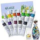 Magicdo Vernice per vetro 12 colori con tavolozza, vernice atossica per vetro, uso del vetro per vetro, cristallo, finestra e ceramica (12x12ml)