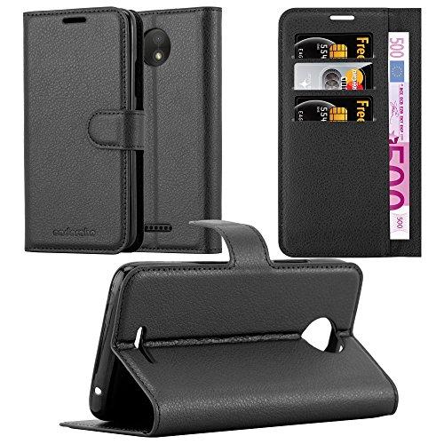 Cadorabo Hülle für Motorola Moto C - Hülle in Phantom SCHWARZ – Handyhülle mit Kartenfach und Standfunktion - Case Cover Schutzhülle Etui Tasche Book Klapp Style