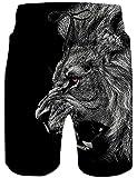 Shorts de Plage Homme Short de Bain à Séchage Rapide Imprimer Lion Waterproof Sports Shorts Maillot de Bain Noir S