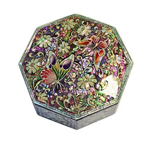 Mykoreangift Kleine Schmuckschatulle mit originellen Formen und Szenen aus natürlichen Perlmutt. Kreatives Handwerk aus Asia, Schmetterlings-Design