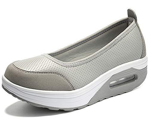 Aitaobao Damen Freizeitschuhe Leichte Keilabsatz Turnschuhe Loafers Bequem rutschfest Plateau Walkingschuhe Abnehmen Schuhe -