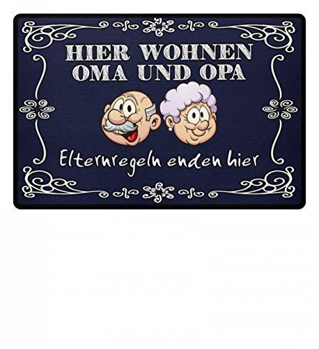 Hochwertige Fußmatte - Hier wohnen Oma und Opa, Eltern Regeln enden hier, für Oma und Opa als Geschenk