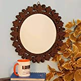 Onlineshoppee Beautiful Design Mirror with Wooden Frame