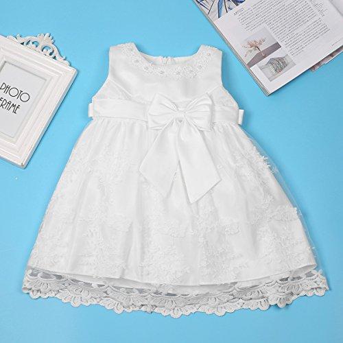 iiniim Baby Mädchen Prinzessin Kleid Blumenmädchenkleid Taufkleid Festlich Kleid Hochzeit Partykleid Festzug Babybekleidung Gr. 68-92 Ivory 68-74 / 6-9 Monate - 6