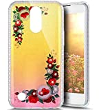 Paillette Coque pour LG K10 2017,LG K10 2017 Coque en Silicone Glitter, LG K10 2017 Silicone Coque fleurs de cerisier roses Housse Transparent Etui Gel Slim Case Soft Gel Cover, Ukayfe Etui de Protection Cas en caoutchouc en Ultra Slim Paillette Bling Diamant Strass Brillante Coque Souple Cristal Clair Gel TPU Bumper Cas Case Cover Coque Couverture Etui pour LG K10 2017