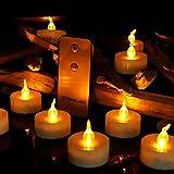 12 Stück LED Teelichter Kerzen mit Fernbedienung und CR2032 Batterien Unscented Flammenlose Teelicht Elektrische Gefälschte Kerze für Zuhause Weihnachtsschmuck Hochzeit Tisch Geschen (12 X Gelb)