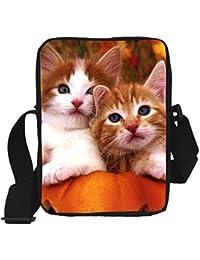 Genric Chocolate : Cute Animal Women Messenger Bags Flower Cat Printing Children Kids Cross Body Bag For Girls...