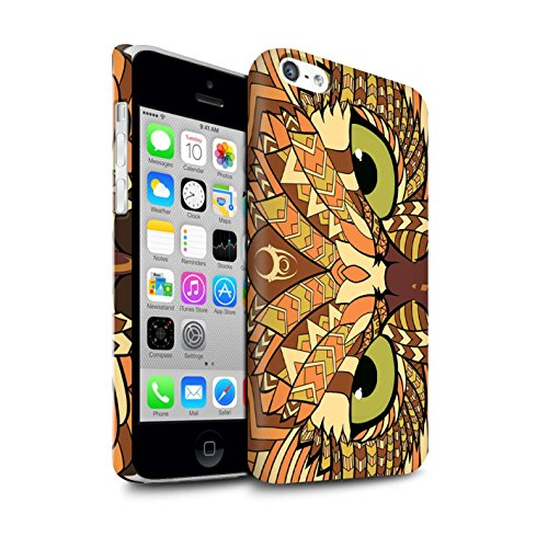 STUFF4 Matte Snap-On Hülle / Case für Apple iPhone 7 Plus / Elefant-Farbe Muster / Aztec Tier Muster Kollektion Eule-Orange