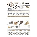 KLIMBIM Metallic Flash Gold Silber Tattoo fŸr Kšrper Finger Arme 2er Set 20~30 Motive - viele Designs