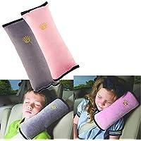 2 Stück Gurtpolster Schlafkissen Nackenstütze für Kinder, Auto Sicherheitsgurt Autositz Kopfkissen Gürtel Pillow Schulterschutz