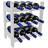 SunDeluxe Estante para vinos Bacchus Compacto - Botellero de Madera 43 x 25 x 47 cm para 12 Botellas, Color:Blanco