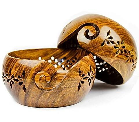 Bois de Rose en bois Fil de stockage de bol avec trous sculptés et perceuses | à tricoter Crochet Accessoires | Nagina International