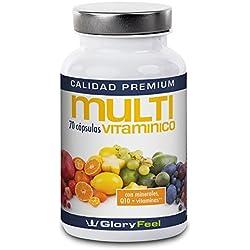 Multivitaminas y Minerales A-Z Complejo - 70 cápsulas altamente dosificadas para mujeres, hombres y niños - 25 Vitaminas y Minerales para vegetarianos y veganos - Suplemento alimenticio de GloryFeel