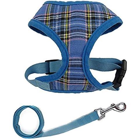 Vycloud(TM) 1x regolabile molle della maglia in tessuto imbottito del cablaggio del cane Tartan cucciolo dell'animale domestico del guinzaglio dell'animale domestico del prodotto assicura il trasporto libero DY190
