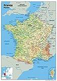 Carte murale de la France- Carte physique - Papier laminé 84x 59cm (A1)-Idéal pour salle de classe, bureau ou domicile...