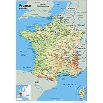 Wall Map of France - Physical Map - Paper Laminated 84 x 59 ...
