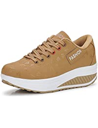 newest 67c76 242e5 QZBAOSHU Donne Sneaker Dimagrante Scarpe Passeggio   Scarpe Ginnastica  Fitness Cunei Piattaforma Scarpe