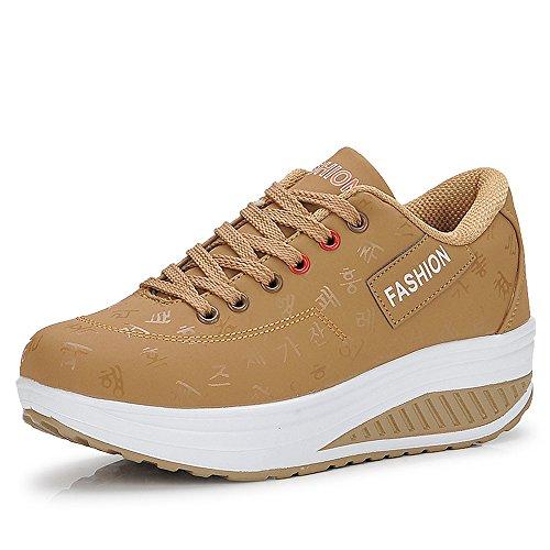 QZBAOSHU Adelgazar Cuña Zapatos Zapatillas para Mujer 1-Caqui 35 EU/Etiqueta 36