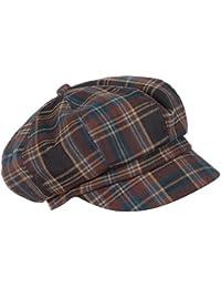 LOEVENICH Kappe Damen Schirmmütze Balloncap Ballonmütze mit schickem Karo-Muster (Grau/Rot)