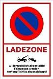 Schild – Eingeschränktes Halteverbot –Ladezone – 15x10cm, 30x20cm und 45x30cm – Bohrlöcher Aufkleber Hartschaum Aluverbund -S00350-017-B