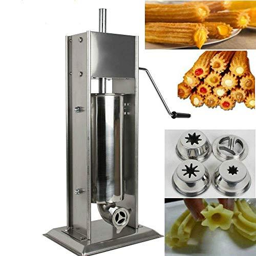 TX® Churreras Churros Machine de remplissage en acier inoxydable manuel de fabrication de churro espagnol Machine à donuts avec 1 moule solide, 2 abrasifs creux et 1 poignée 3l/6.6lb