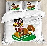 Türkei Queen-Size-Bettbezug-Set, American Football spielen lustige Vogel und Thanksgiving Day Celebrations Thema Schweinsleder, dekorative 3-teiliges Bettwäscheset mit 2 Kissen-Shams, Multicolor