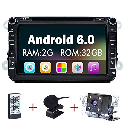 "Junsun 8"" Reproductor Multimedia DVD 2 Din GPS Navegador Android 6.0 Quad Core con WIFI Bluetooth Control Volante para Coche Vehículo VW/Volkswagen/Passat/GOLF/Skoda/Seat"