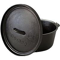 ToCis Big BBQ DO 9.0 Dutch-Oven aus Gusseisen | Fertig eingebrannter 12er Koch-Topf aus Gusseisen | mit Deckelheber, Deckel- oder Topfständer | ohne Füße