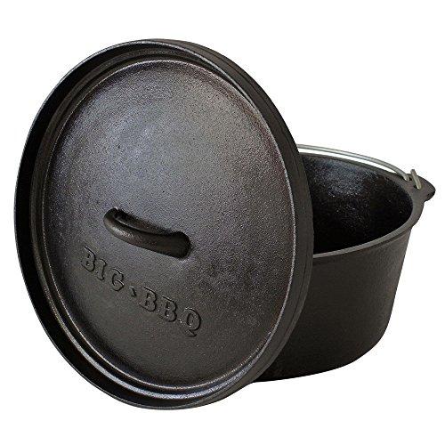 DO 9.0 Dutch-Oven aus Gusseisen   Fertig eingebrannter 12er Koch-Topf aus Gusseisen   mit Deckelheber, Deckel- oder Topfständer   ohne Füße (Grillrost Kessel)