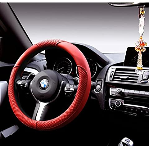 EarthSafe® Microfibra Cover in pelle Volante, Universal 38 centimetri piccolo diamante antiscivolo Wrap volante dell'automobile (Rosso)