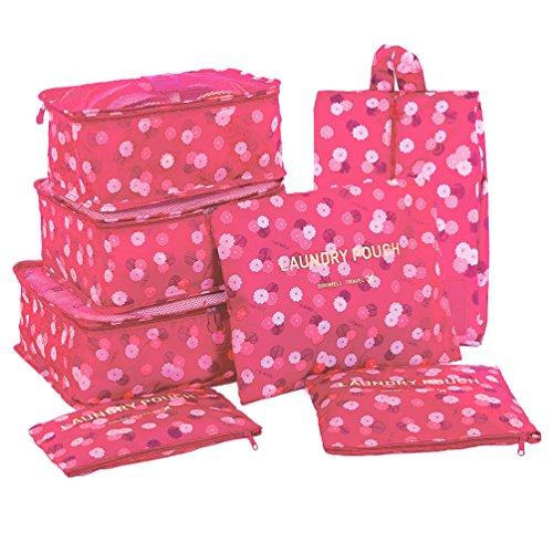 Hiday 7 Série D'emballage En Cube - 3 Cubes De Voyage + 3 Poches + 1 Sac à Chaussures, Votre Meilleur Assistant De Voyage!