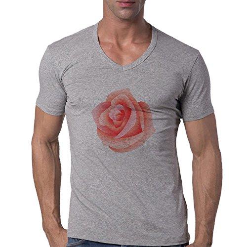Flowers Nature Blossom Plant Pink Big Blossom Rose Herren V-Neck T-Shirt Grau