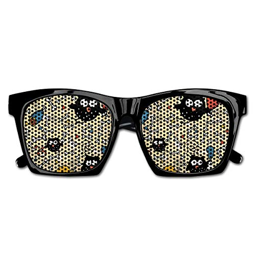 Mesh Sunglasses Sports Polarized, Hungry Owls with Lots of Bones and Chunks of Meat Eating Cute Drawing Doodle,Fun Props Party Favors Gift Unisex