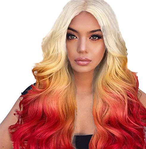 Damenperücken/Dorical Frauen Haar Wigs Lang Wellig Perücke/Lang Haarteile für Karneval Fasching Cosplay Party Kostüm für verschiedene Hautfarben(Rot)