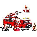 Top Race® Set de Construcción Camión de Bomberos (576 Piezas) con Jefe de Bomberos, Moto y Accesorios, Bloques de Construcción, Estilo Lego