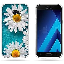 "fubaoda Funda Samsung Galaxy A5 2017 Carcasa Ultra Fino de Cristal Claro,Encantador Dibujo de Margaritas,Duradera,Suave,Flexible,[Protección con Goma Funda para Samsung A5 2017 (5.2"")"