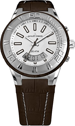 Jacques Lemans Miami Gents Brown Leather Strap Watch 1-1772D