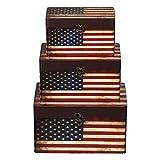 Truhe Kiste 11A6028 USA, Holztruhe mit Canvas bezogen im Vintage Look, Schatzkiste,Kiste, Piratenkiste, Kleinmöbel, Mit Metallbeschlägen, Antikoptik, Holz, verschieden Größen, Maritim, Deko, Hochwertig, Kolonialtruhe, Kolonialstil, Holzbox, Truhe mit Ornamenten . (SET Größe M + L + XL)