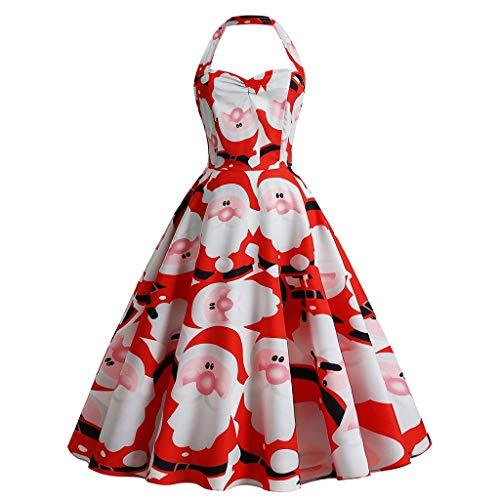 PPangUDing Weihnachtenkleid Damen Elegant Abendkleid Retro Neckholder Weihnachtsmann Drucken Ärmellos Faltenrock Cocktailkleid Partykleid Sexy Schulterfrei A-Linie Swing Minikleid (L,rot)