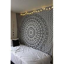 Hippie Indio Mandala Tapicería bohemio En blanco y negro Tapiz de pared Boho Elefante Algodón Colgar en la pared Decoración Tapestry Tapices Por Rajrang