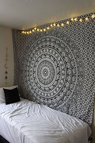 indian-mandala-black-and-white-tapestry-elephant-hippie-tapisserie-murale-boho-room-decor-wall-hangi