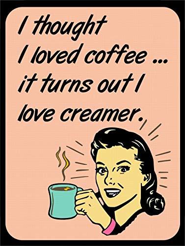 Tiukiu Vintage Retro Style Lady Drink Coffee Creamer Funny Metal Sign Wall Decor Dream Creamer