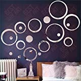 #9: BEST DECOR 20 Circle Ring And Dots Silver(Pack of 20)Acrylic Sticker, 3D Acrylic Sticker, 3D Mirror, 3D Acrylic Wall sticker, 3D Acrylic stickers for wall, 3D Acrylic Mirror stickers for living room, bedroom, kids room, 3D Acrylic mural for home & offices décor 13