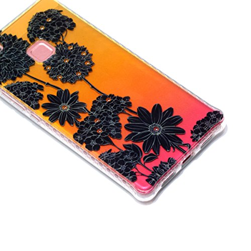Coque Huawei P9 Lite Glitter, Huawei P9 Lite Coque Brillante, SainCat Ultra Slim TPU Silicone Case pour Huawei P9 Lite, Glitter Bling Diamante Strass Anti-Scratch Soft Gel 3D Housse Transparent Silico Noir Daisy