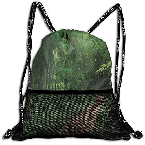 9b685b1cdc991 EELKKO Mesh Beam Backpack Lightweight Foldable Large Capacity Drawstring  Casual Rucksack, Pathway In The Forest