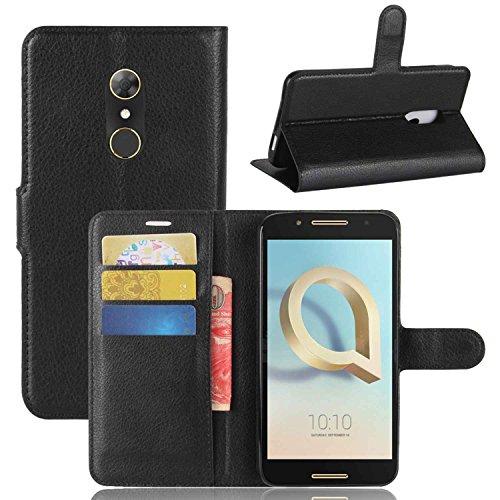 Tasche für Alcatel A7 Hülle, Ycloud PU Kunstleder Ledertasche Flip Cover Wallet Case Handyhülle mit Stand Function Credit Card Slots Bookstyle Purse Design schwarz