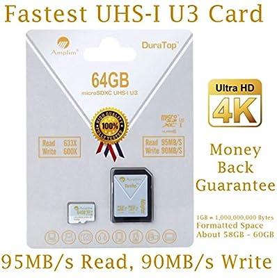 Amplim 64GB High Endurance Micro SD SDXC U3 Memory Card Plus Adapter Pack (Class 10 UHS-I MicroSD XC Extreme Pro) 64 GB Ultra High Speed 95/90MB/s R/W UHS-1 TF MicroSDXC 4K Flash - Cell Phone, Camera